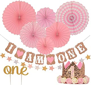 One-year Birthday Decoration Pink Paper Fan Flower Set I Am One Banner Paper String Cake Insert Baby Birthday Party Decora...