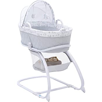 Delta Children Deluxe 2-in-1 Moses Bedside Bassinet Portable Crib, Elephant Dreams