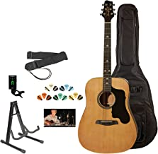 Sawtooth 6 String Acoustic Guitar Pack, Right Handed, Natural, Gig Bag and Accessories (ST-ADN-KIT-3)