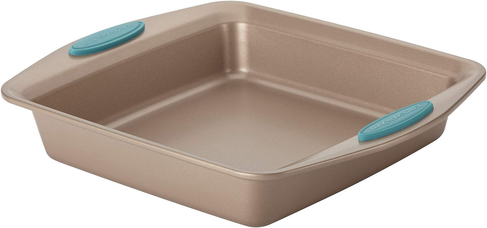 Rachael Ray Cucina Nonstick Bakeware Square Cake Pan 9 Inch Latte Brown With Agave Blue Handles
