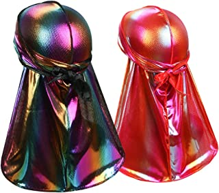 ASHILISIA Super Soft Holographic Durag Headwraps (1PC/2PCS/3PCS) with Extra Long Tail and Wide Straps for 360 Waves