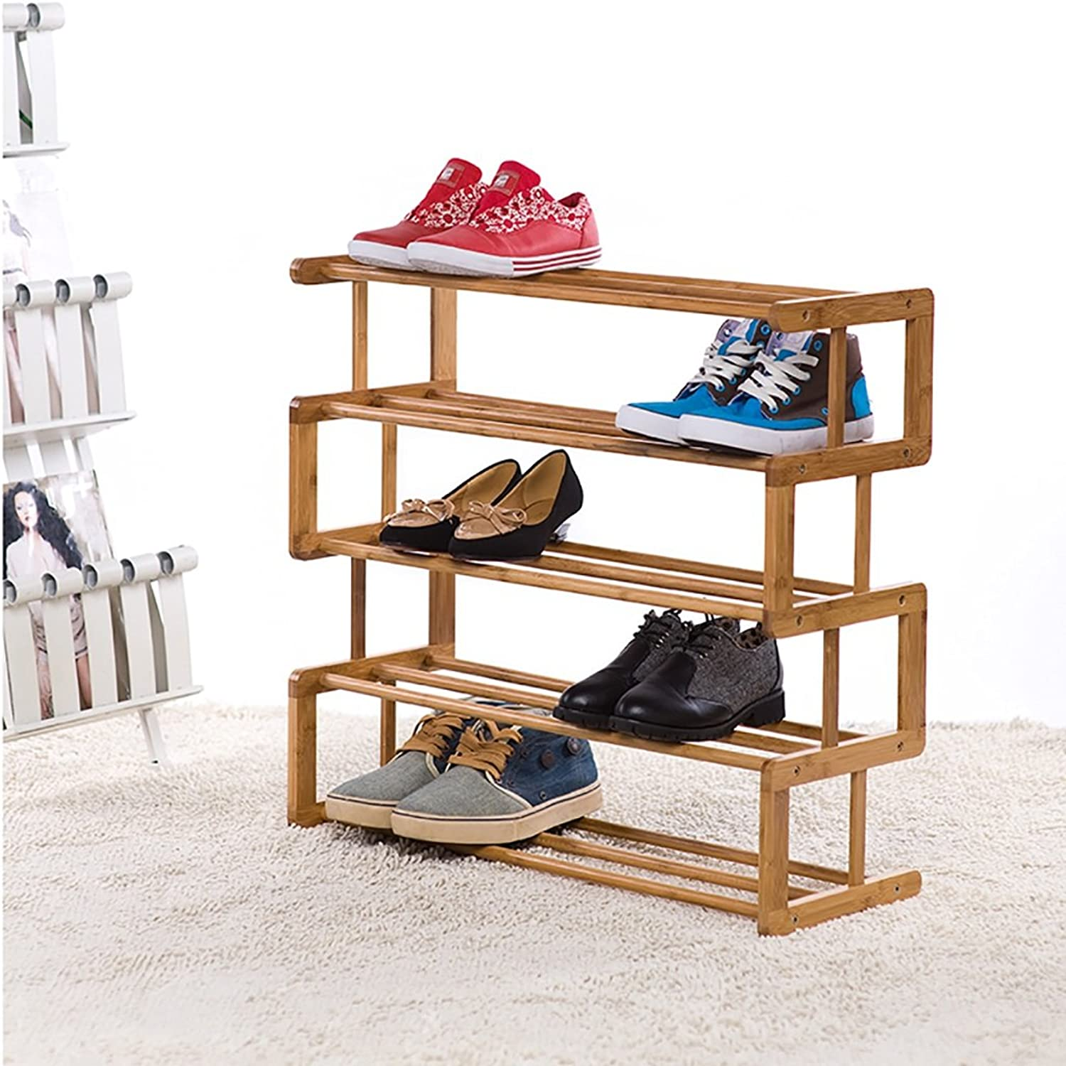 4 Tier Natural Bamboo shoes Rack,Multi-Layer Simple Household Economy shoes Rack,Assembly shoes Cabinet Dormitory Room Solid Wood shoes Shelf (color   B)