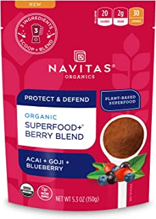 Navitas Organics Superfood+ Berry Blend for Immune Support (Acai + Goji + Blueberry), 5.3 Ounce Bag, 30 Servings Organic, ...