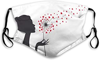 Fashion Activated Carbon Windproof Mask,Woman Silhouette With Dandelion Heart Seeds Flying Valentines Day,Facial decoratio...