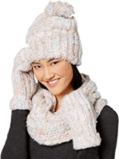 Betsey Johnson Womens Crystal Gloves, Hat & Scarf Set Pale Multi, One Size