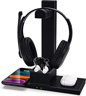 $29 » FutureCharger PU Leather Gaming Headset Stand 2-in-1 Fast Wireless Charger with Detachable Earphone Stand Qi Fast Wireless...