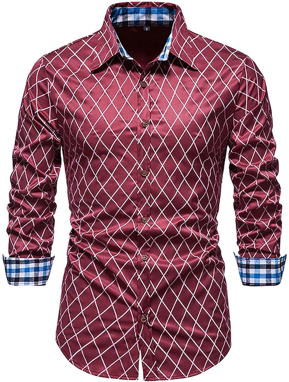 Men's Slim fit Soild Dress Shirts Casual Long Sleeve Button-Down Dress Shirt Athletic-Fit Flex Collar Dress Shirt