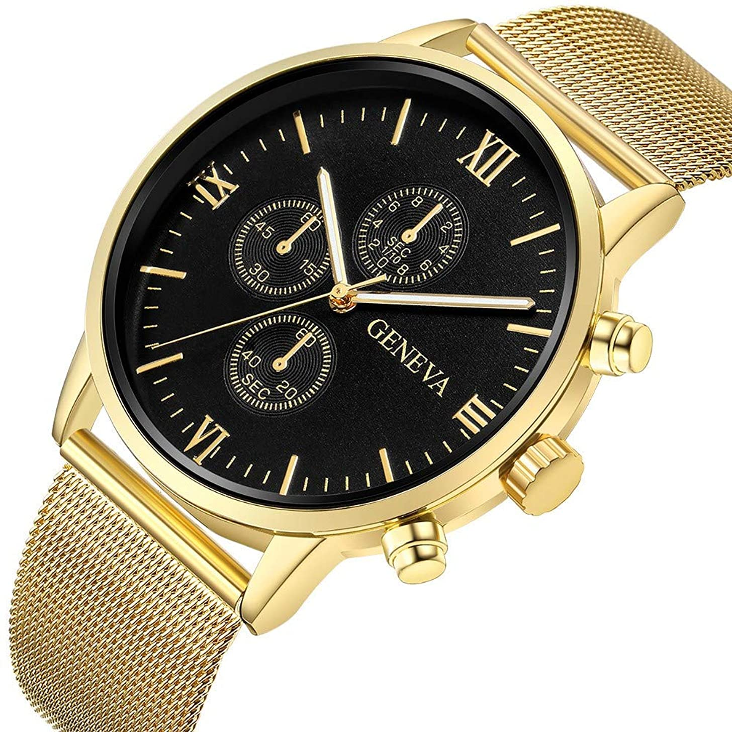 Watches for Men On Sale Clearance,Men's Watch Fashion Luxury Waterproof Sports Analogue Casual Quartz Chronograph Watch,Stainless Steel Black Watch Gift for Boys
