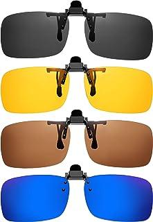 4 Pairs Clip-on Plastic Sunglasses Lenses Flip Up Rectangle Glasses Lens with 4 Pieces Transparent Box