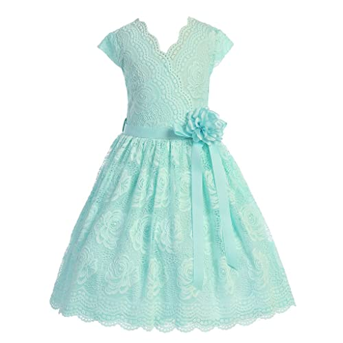 cf69f7308a7 iGirldress Little Girls Floral Design Lace Easter Spring Dress Sizes 2-14