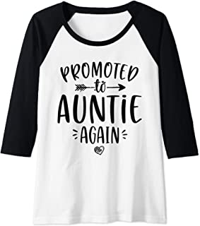 Womens Promoted to Auntie Again New Aunt To Be Gift For Sister Raglan Baseball Tee