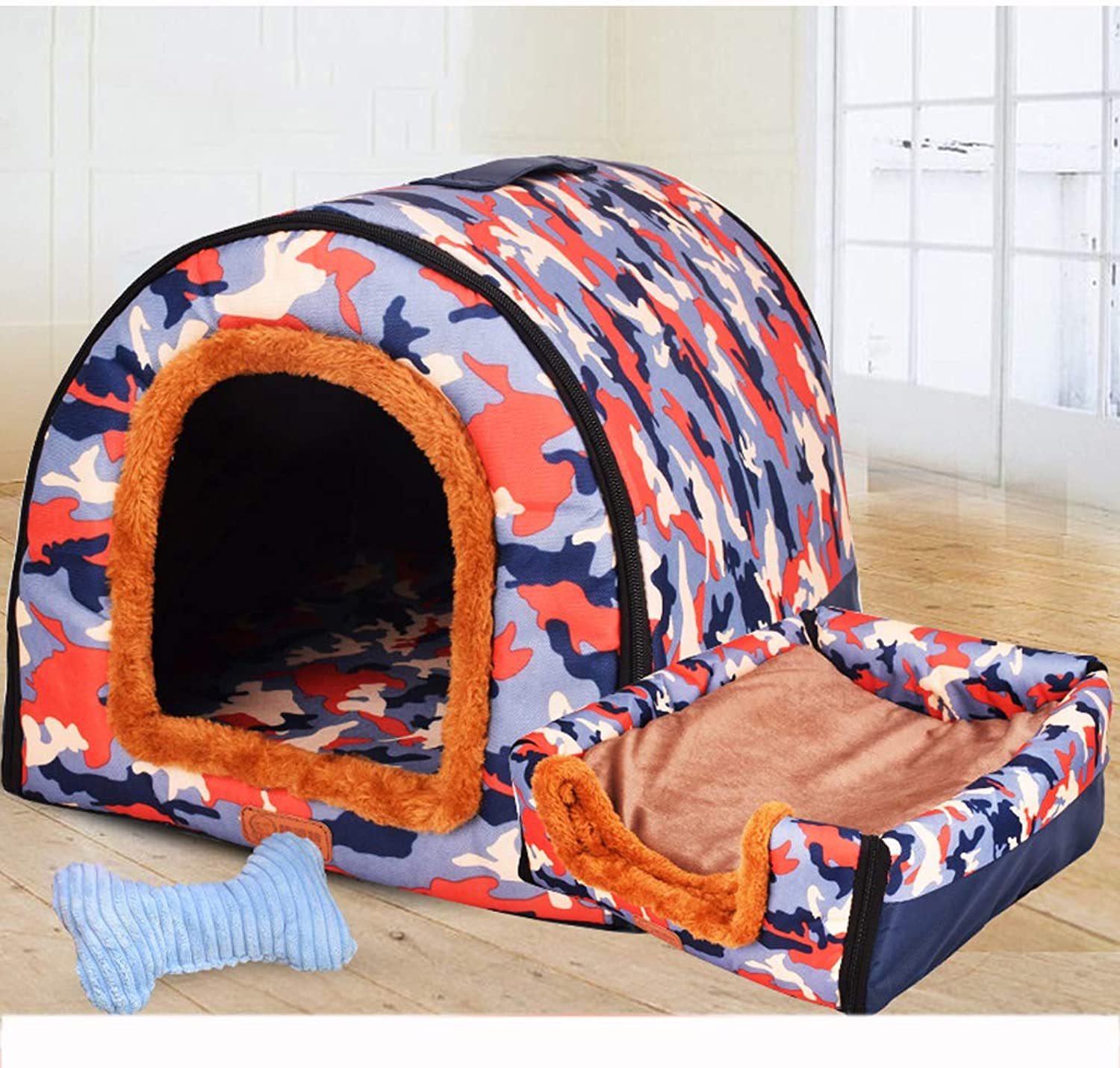 Pet nest, one nest, nonslip wearable Oxford cloth + PP cotton kennel cat house, bluee  10 sizes