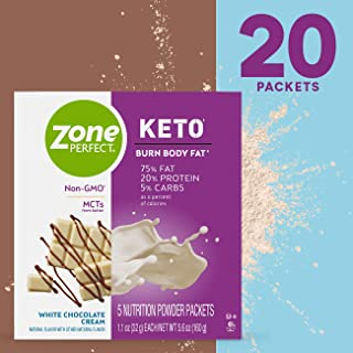 ZonePerfect KETO Powder, True Keto Macros to Burn Body Fat, Made with MCTs, White Chocolate Cream, 1.1 Oz, Pack of 20