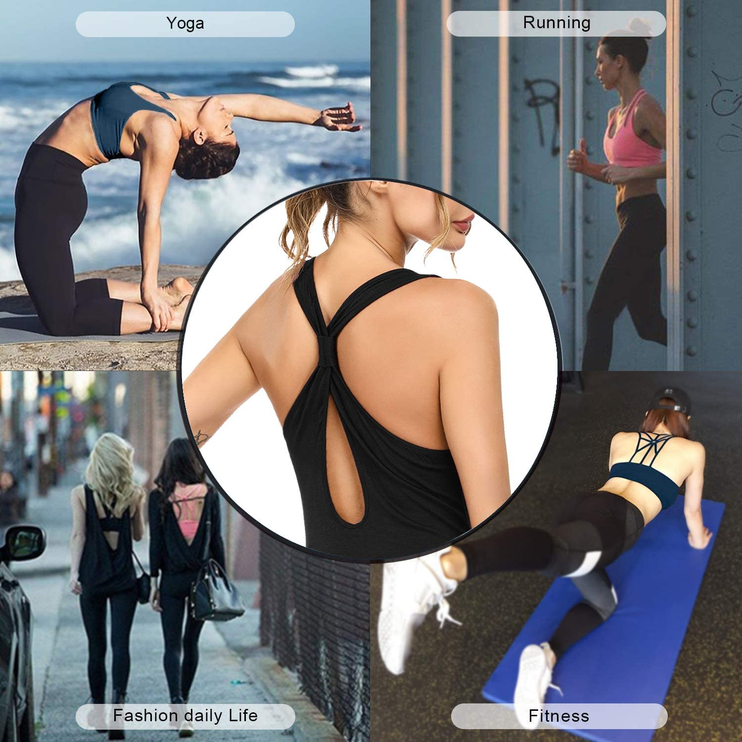 Sykooria 1-3 Pack Padded Sports Bra for Women Workout Tops Strappy Crisscross Open Back for Yoga Running Athletic Gym