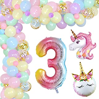 Unicorn 3rd Birthday Decorations for Girls Balloon Garland Arch Kit for 3 Years Old Rainbow Unicorn Pastel Party Decoratio...