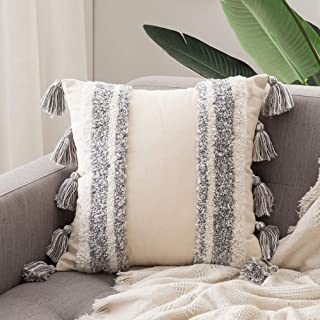 MIULEE Decorative Throw Pillow Cover Tribal Boho Woven Tufted Pillowcase with Tassels Super Soft Square Pillow Sham Pillow...