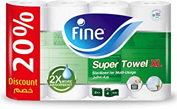 Fine, Paper Towel - Extra Long, 2X more absorbent, 100 Sheets x 2 Ply, pack of 4