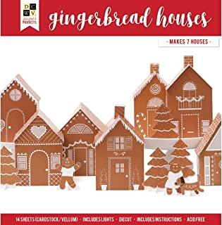 DCWVE DCWV Paper Project Christmas-12 x 12-Gingerbread 7 Houses-Light String 614732, Multi