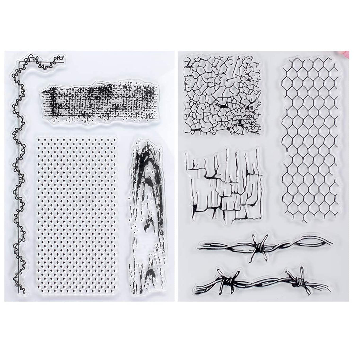 Kwan Crafts 2 Sheets Different Style Wood Grain Crack Grid Background Clear Stamps for Card Making Decoration and DIY Scrapbooking