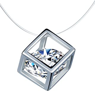 Infinite U Magic Cube Pendant 925 Sterling Silver Invisible Fish Line solitaire Choker Necklace for Women/Girls (Cubic Zir...