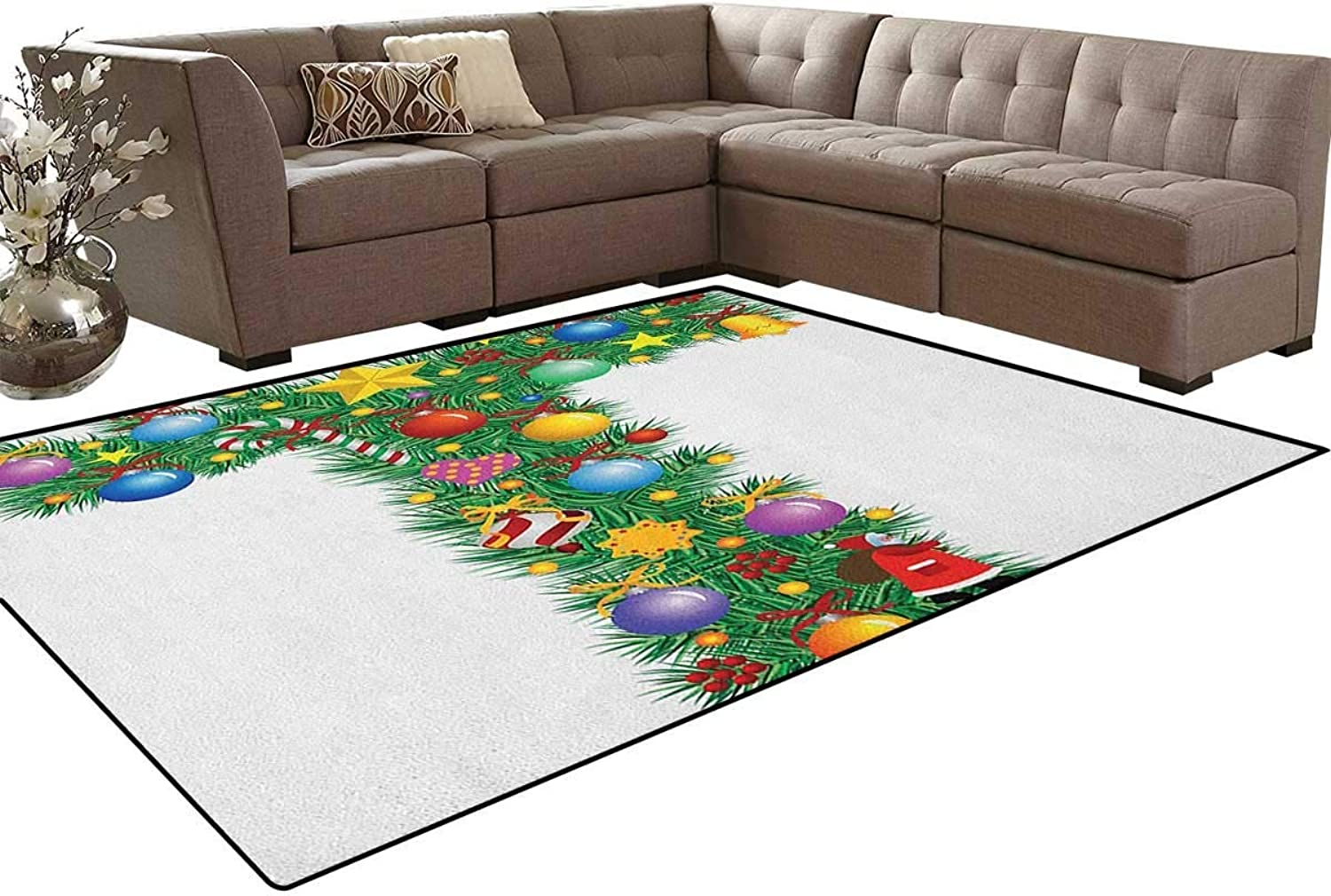 Winter Season Celebration with Traditional Festivity Items Holiday Themed Image Floor Mat Rug Indoor Front Door Kitchen and Living Room Bedroom Mats Rubber Non Slip