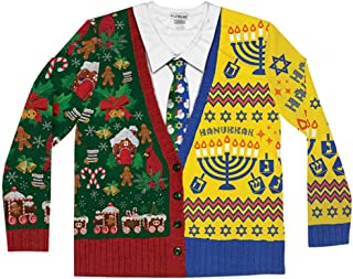 Faux Real Mens F134806 Half & Half Ugly Holiday Sweater Long Sleeve T-Shirt