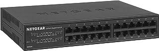 Netgear gs324 Switch 24 Puertos gigabit unmanaged, ethernet de sobremesa o Bastidor, Caja de Metal sin Ventilador, Negro
