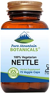 Stinging Nettle Leaf Capsules - 75 Kosher Vegan Caps - Now with 500mg Organic Stinging Nettles Leaf