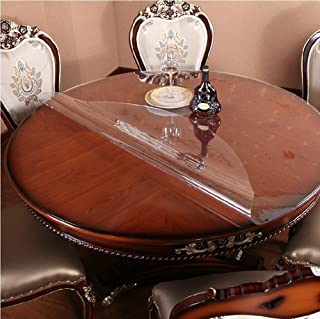 MAGILONA Home Round Tablecover Waterproof PVC 1.5mm Thick Protector for Table/Desk Table Pads Table Covers Heat Protection Custom Size (32 Inch(80cm), Clear)