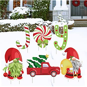 ORIENTAL CHERRY Christmas Decorations Outdoor - 6PCS Large Xmas Yard Stakes - Joy Gnomes Santa Holiday Outside Decor Signs for Home Lawn Pathway Walkway