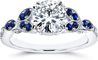 Antique Moissanite and Blue Sapphire Engagement Ring Accents 1 1/5 CTW 14k White Gold