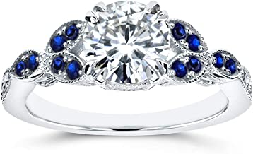 Kobelli Antique Moissanite and Blue Sapphire Engagement Ring Accents 1 1/5 CTW 14k White Gold