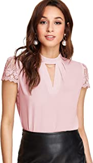 Women's Elegant Lace Short Sleeve Sexy Keyhole Blouse Shirt