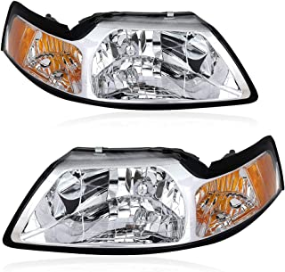LBRST Headlight Assembly for Ford Mustang 1999-2004 Headlamp Replacement with Daytime Running Lamps (Driver and Passenger Side)