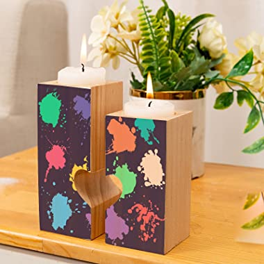 Candleholders Set of 2 Colorful Graffiti Hip hop Rock Style Tealight Candle Holder Stand Tea Lights Wooden Candlestick Candle
