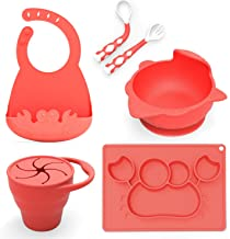 Baby Feeding Set,Including Bowl with Suction, Dish, Bendable Fork and Spoon, Adjustable Baby bib, and Snack Cups. Harmless, Silicone, Easy to Clean Again, Perfect Infant Baby Shower Gift - Red