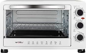 WOLTU Mini Four 25 litres, Mini Four à Pizza à Pain grillé Mini Four avec minuterie 100-250 ℃ 1500W,Blanc BF11ws