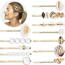 12 Pieces Faux Pearl Hair Clip Shell Barrettes Conch Pearl Hairpins Side Bangs beach seashell Hair Barrettes bobby pin for Women and Girls