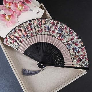 Los ventiladores plegables, mano abanico plegable, chino estilo de la vendimia Impresión creativa hueco Talla abanico plegable, flores Marco de la vendimia ventilador de seda con el bambú y borla eleg