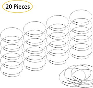 UPINS 20 Pcs Expandable Bangle Bracelets Adjustable Wire Blank Bangles Metal Bracelets for DIY Jewelry Making, Silver