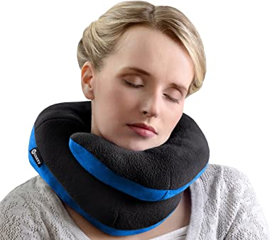 BCOZZY Chin Supporting Travel Pillow- Ergonomic Neck Cushion for Neck Pain Relief in Plane, Home, Office, Car- Adult Size, Black