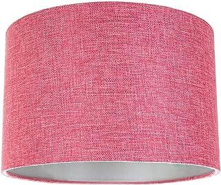 comprar comparacion Lámpara de tambor de tela de lino lisa rosada contemporánea y elegante Pantalla 60w máximo por Happy Homewares