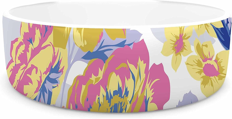 KESS InHouse Gukuuki Royal Garden  Multicolor Yellow Pet Bowl, 7
