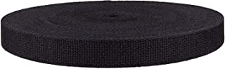 QIANF 1 Inch Black Heavy Cotton Webbing, 10 Yards