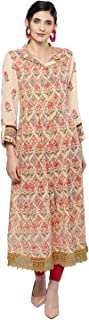 Women's Cotton Anarkali Kurta (KRTVC.GGT26N19637391_Beige_36)