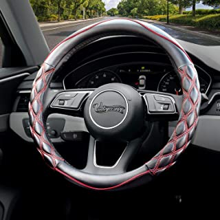 Valleycomfy Steering Wheel Cover Pu Leather Universal 15 Inches, Pathwork Pattern, Breathable, Anti-Slip, Odorless (Black with red line)