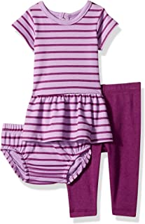 Hanes Ultimate Baby Girls Flexy Short Sleeve Dress with Diaper Cover and Legging Set