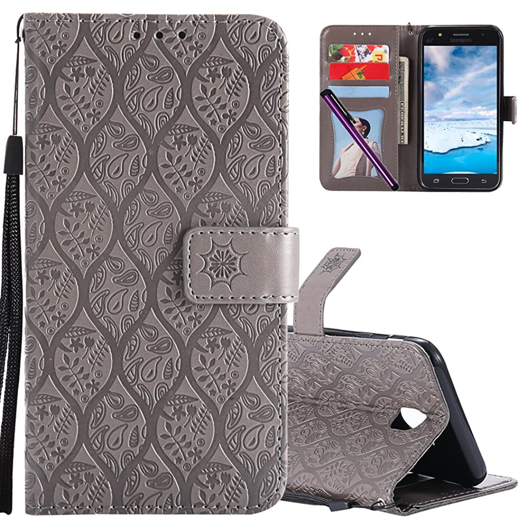 Samsung J7 Pro Leather Case COTDINFORCA Premium PU Flip Book Style Kickstand Embossed Design Magnetic Protective Cover with Card Slots for Samsung Galaxy J7 Pro 2017 J730 5.5