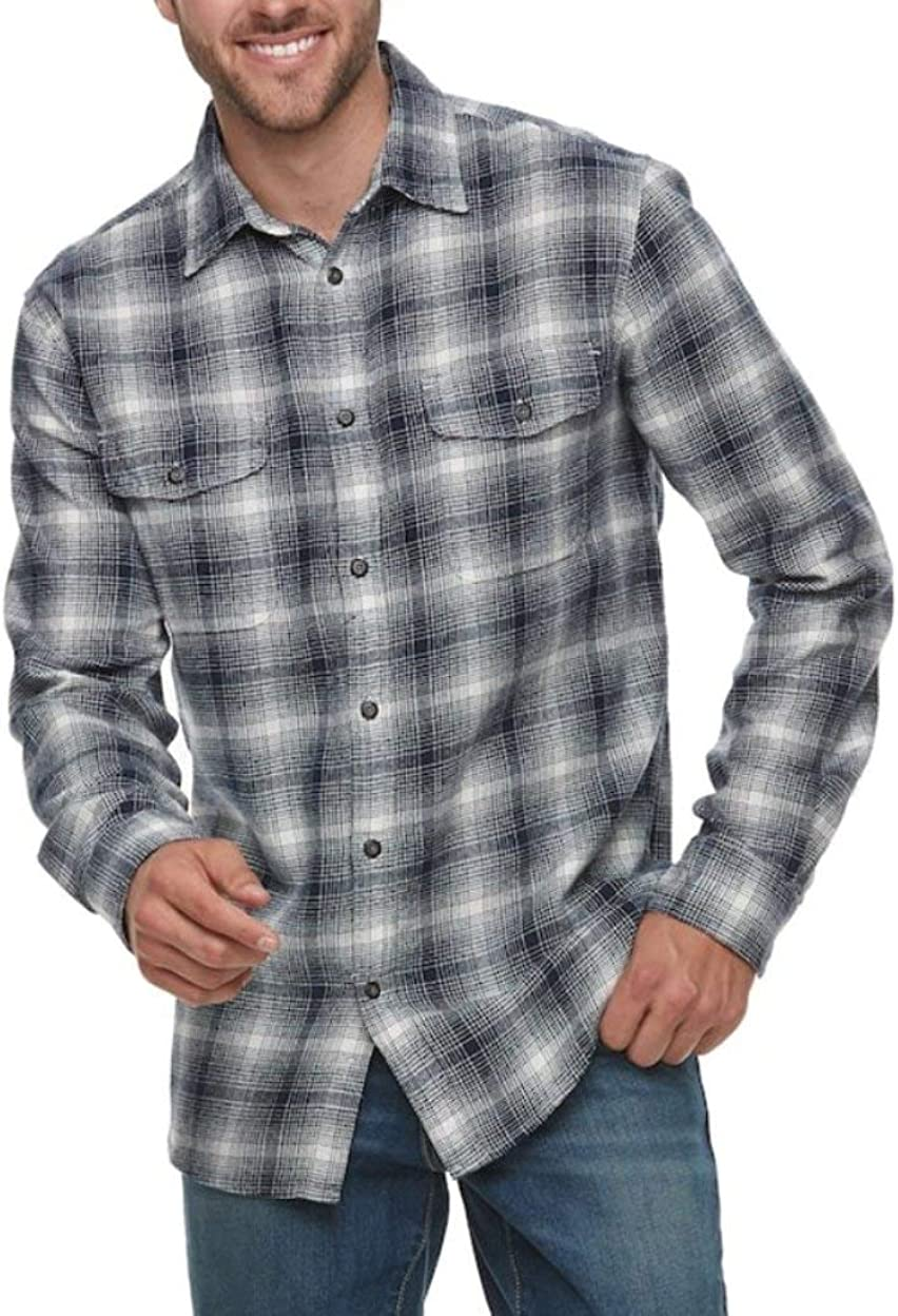 Sonoma Mens Classic Fit Flannel Shirt Sizes Big & Tall Ombre Plaid - 2 ChestPockets
