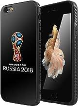 iPhone 6/6s Case, AICase Tempered Glass Back Case, Russia 2018 Russia FIFA World Cup Fashion Hard Glass Back Cover Soft TPU Bumper Frame Anti-Scratch Anti-Slip Case for Apple iPhone 6/6s Black B7688-f